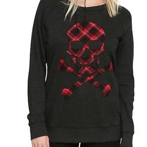 Hot topic Plaid Skull Pullover